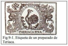 Etiqueta de un preparado de Teriaca.