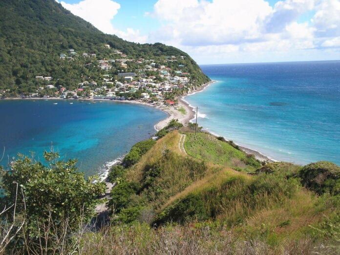 Playa Dominica en el Caribe