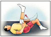 Estiramiento del ligamento de la corva, posición supina - Ejercicios para la rodilla