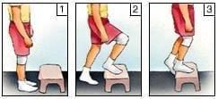 Suba un escalón, hacia delante - Ejercicios para la rodilla