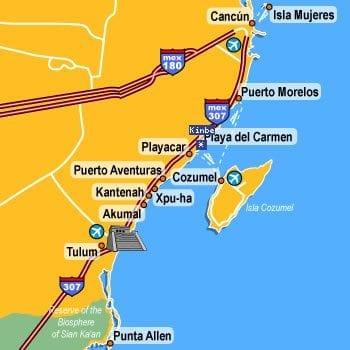 Mapa Cancún - México