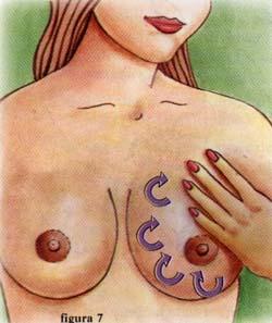 Movimiento circular con los dedos en cada seno - Lactancia