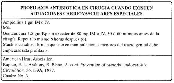 Profilaxis antibiótica cardiovasculares especiales