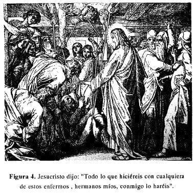 Jesucristo con enfermos y menesterosos