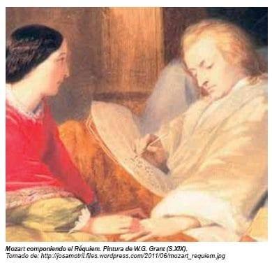 Mozart componiendo el Requiem