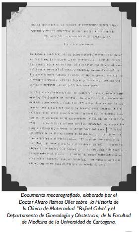 Documento mecanografiado, elaborado por el Doctor Alvaro Ramos Olier sobre la Historia