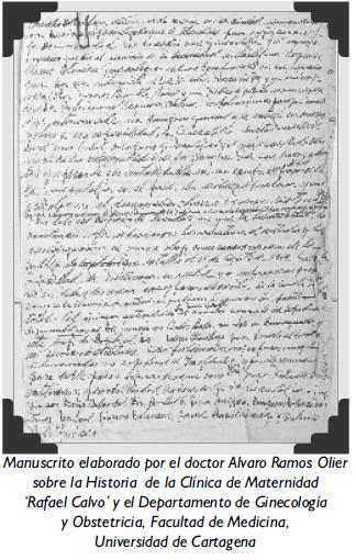 Manuscrito elaborado por el doctor Alvaro Ramos Olier