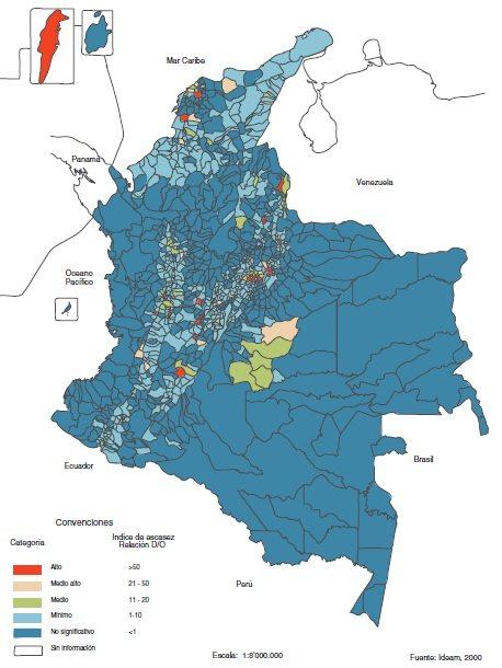 Índice de escasez municipal de agua en Colombia de año seco