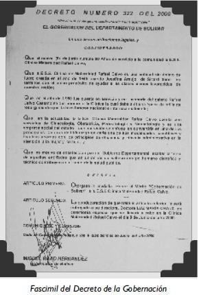 Fascimil del Decreto de la Gobernación