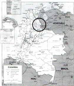 En el círculo área correspondiente a Norte de Santander, Colombia.