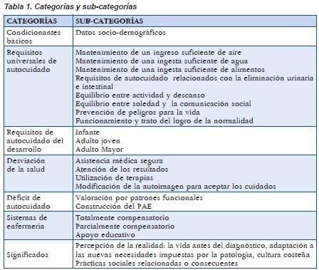 categorías y subcategorias