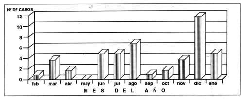 Casi-ahogamiento en niños en Cartagena, 1994. 1995. Número de casos según mes del año.
