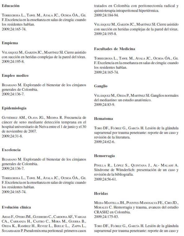 Revista de Cirugía: Índice de Materia 3, Volumen 24 No. 4
