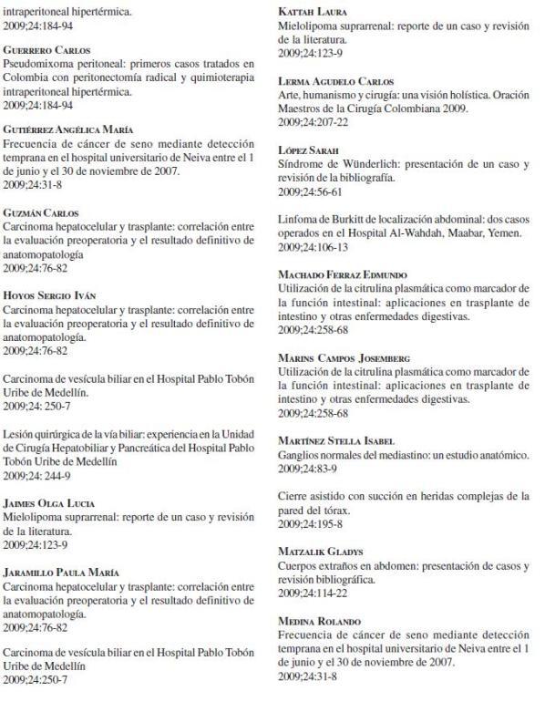 Revista de Cirugía: Índice de Autores 3, Volumen 24 No. 4