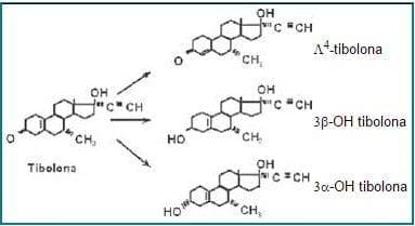 Estructura química de la tibolona y de sus principales metabolitos