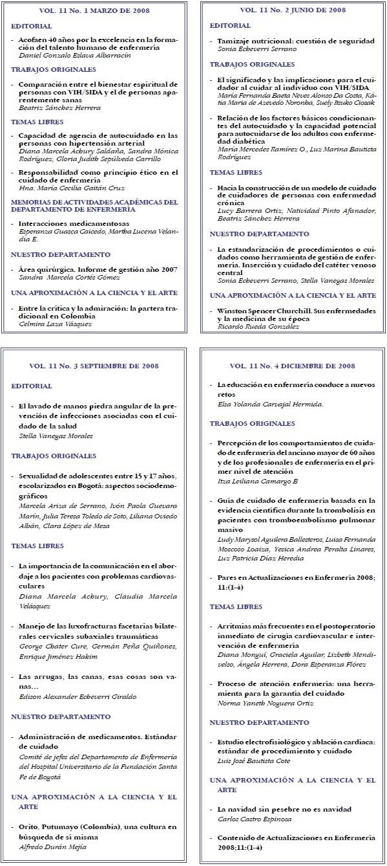 Enfermería  Contenido  2008, 11(1-4)