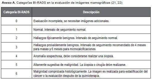 Categorías BI-RADS en la evaluación de imágenes mamográficas