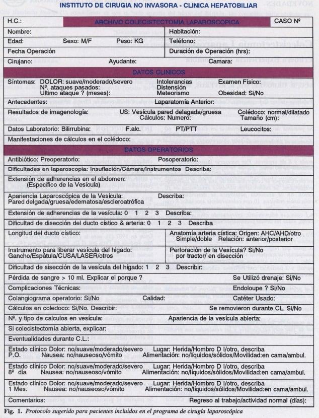 Protocolo para pacientes de cirugía laparoscópica