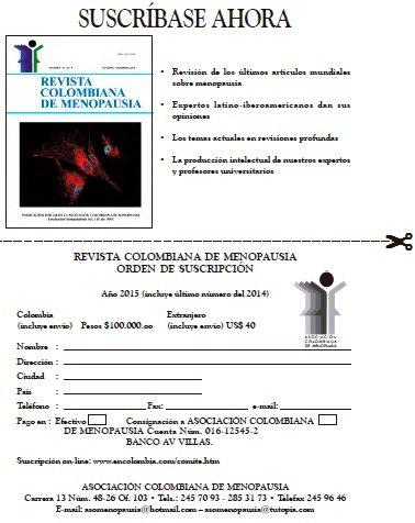Revista de Menopausia, suscripción
