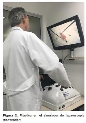 Simulación de nudos y suturas enlaparoscopia (pelvitrainer)