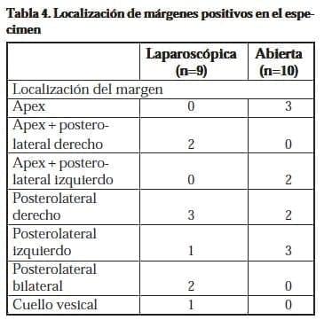 Localización de márgenes positivos en el espécimen
