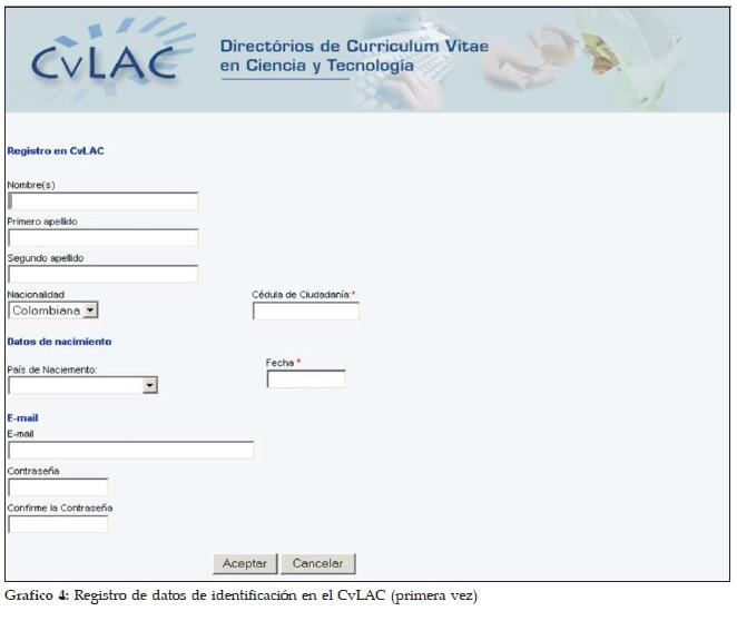 Registro de datos de identificación en el CvLAC (primera vez)