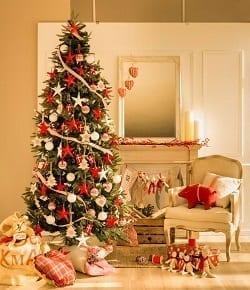 Arbol Navidad Rojo y Dorado, Decoración Navideña