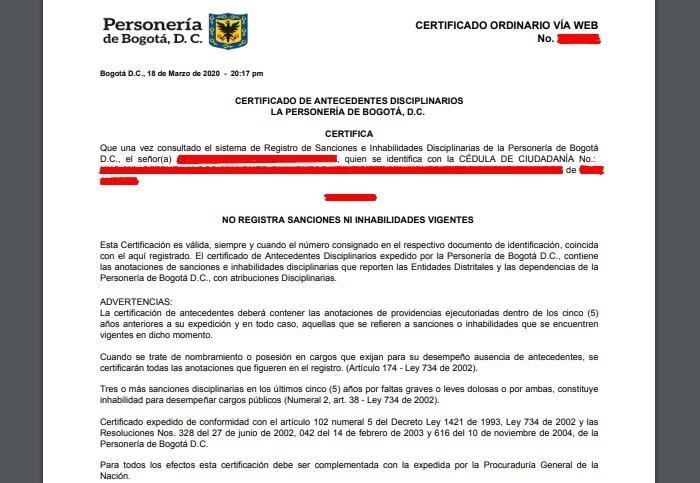 Certificado de Personería en línea 5