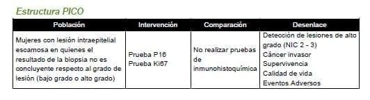 Lesión intraepitelial escamosa - pruebas de inmunohistoquímica