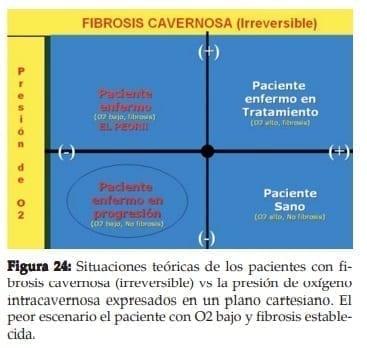 Fibrosis cavernosa (irreversible) vs la presión de oxígeno