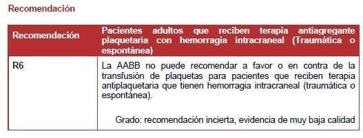 Terapia antiagregante plaquetaria con hemorragia intracraneal