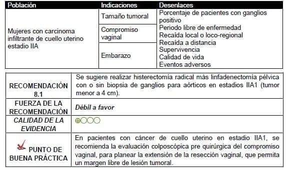 Histerectomía radical más linfadenectomía pélvica con o sin biopsia de ganglios
