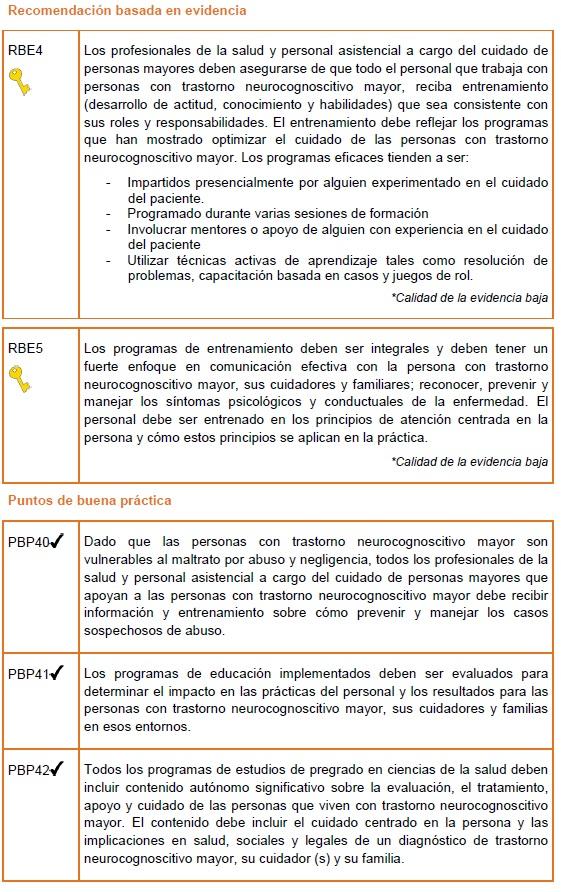 Capacitación para el personal asistencial y estudiantes recomendaciones
