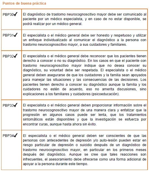 Comunicación del diagnóstico del trastorno neurocognoscitivo