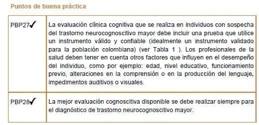 Evaluación cognitiva - Puntos de buena práctica