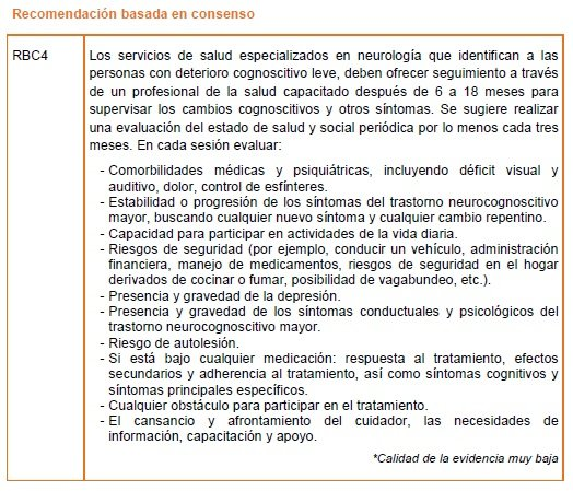 Servicios de evaluación especializada - Recomendación basada en consenso