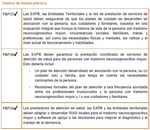 Trastorno Neurocognoscitivo Mayor - Organización de servicios de salud
