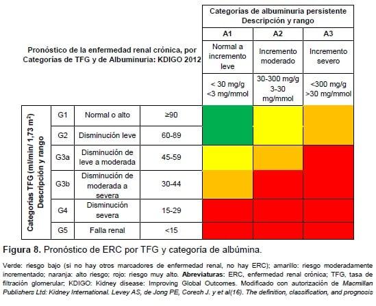 Pronóstico de ERC por TFG y categoría de albúmina