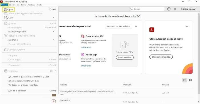 PDF adobe abrir el archivo