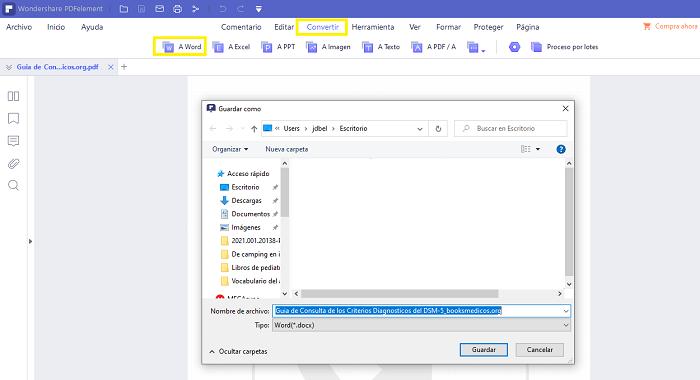 convertir el archivo PDF a cualquier otro formato