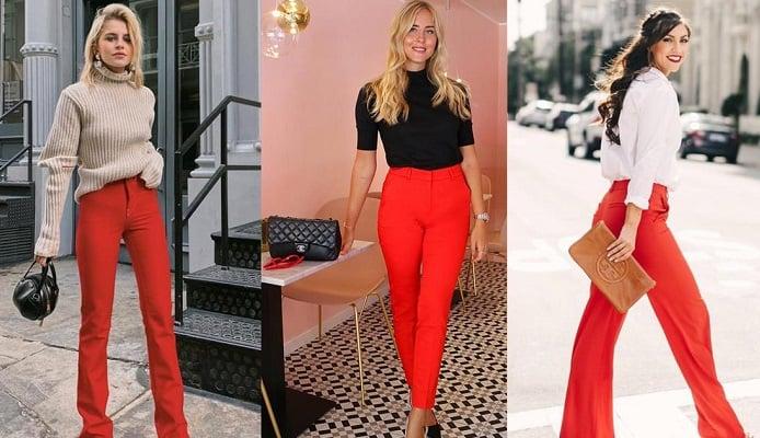 Descubre cómo combinar los pantalones rojos sin que te veas extravagante